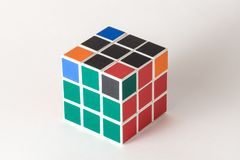 The Rubik`s cube on the white background. The solution sequence stage six. The object is isolated on white and a clipping path is provided for easy extraction Stock Photo