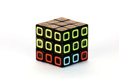 The Rubik`s cube on the white background. The solution sequence stage three. The object is isolated on white and a clipping path is provided for easy extraction Stock Photography