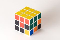 The Rubik`s cube on the white background. The solution sequence stage two. The object is isolated on white and a clipping path is provided for easy extraction Stock Image