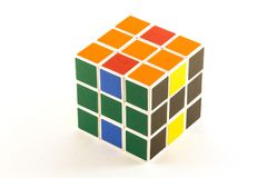 The Rubik`s cube on the white background. The way of solution. The object is isolated on white and a clipping path is provided for easy extraction Royalty Free Stock Images