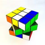 Rubik's in motion. 3 D Rubik's Cube, on white Stock Photography