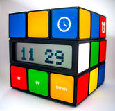 Rubiks Cube Clock. With a white background Royalty Free Stock Images