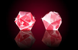 Rubin Diamonds. Two red rubin diamonds with shines, lying on black glass background stock illustration