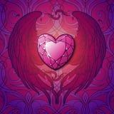 Rubin i skrzydła serca st Valentine& x27; s karta Zdjęcia Royalty Free