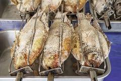 Rubin ryba z solą w grillu na tacy zdjęcia stock