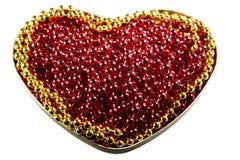 Rubinen pryder med pärlor formad hjärta Guling pryder med pärlor list Fotografering för Bildbyråer