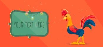 Rubinetto colorato Cartolina d'auguri di nuovo anno Illustrazione di vettore di natale Il simbolo del 2017 Immagini Stock