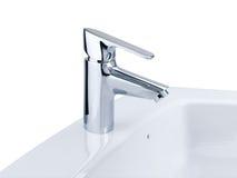 Rubinetto e lavabo Fotografie Stock