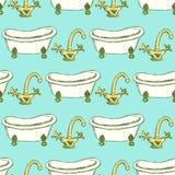Rubinetto e vasca di schizzo nello stile d'annata royalty illustrazione gratis