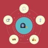 Rubinetto piano delle icone, lampadina, Van And Other Vector Elements Insieme delle icone piane della costruzione Fotografia Stock Libera da Diritti