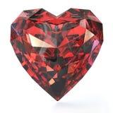 Rubino a forma di del cuore Immagine Stock