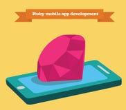 Rubinowa mobilna podaniowego rozwoju wektoru ilustracja Ilustracja Wektor