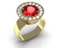 Rubinowego klejnotu złocisty pierścionek Zdjęcie Royalty Free