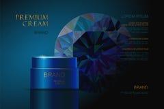 Rubinowej premii kosmetyczne reklamy kremowe stosowanie opieki skóry przejrzystego lakier 3d realistyczna ilustracja royalty ilustracja
