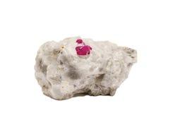 Rubinowi kryształy na kwarc Zdjęcia Stock
