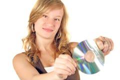 Rubio con CD   Imagenes de archivo