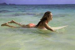 Rubio en bikini en su tabla hawaiana Foto de archivo