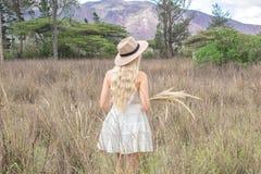 Rubio joven hermoso con un sombrero, retrocede en la pradera, en el campo y las montañas fotografía de archivo libre de regalías