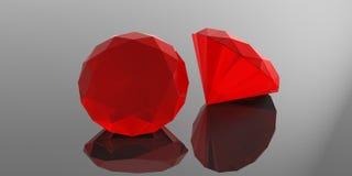 Rubis vermelhos no fundo cinzento ilustração 3D Fotografia de Stock