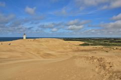 Rubjerg Knude, big sand dune at the west coast of Denmark. Old lighthouse. Stock Photos