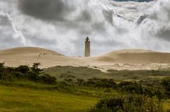 Rubjerg Knude Fyr, abandoned lighthouse among the sand dunes stands on the edge of the cliff stock photography
