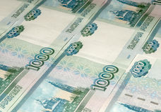 Ruble banknotes as background Stock Photos