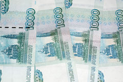 The ruble banknotes background Royalty Free Stock Photos