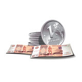 Ruble banknotes and coins illustration, fin stock illustration