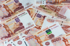 Ruble banknotes. Scattered ruble currency banknotes, closeup view stock photos