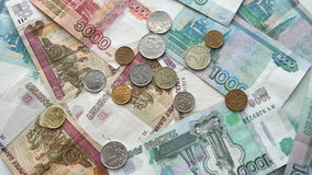 Ruble close up on the bills Stock Photos
