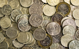 Ruble coin. Background from the large number of Russian coins Royalty Free Stock Image