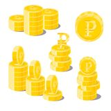 Ruble coin heaps. Exceeding income goals, calculating high incom. E and a large capital base. Business finance and economy concept. Cartoon vector illustration Stock Images