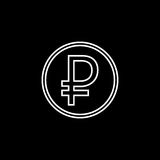 Ruble coin line icon, finance and business. Ruble sign vector graphics, a linear pattern on a black  background, eps 10 Stock Image