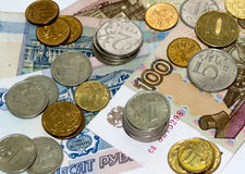 Ruble coins and banknotes Royalty Free Stock Photography