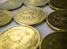 Ruble coins. Of different nominations in a row Royalty Free Stock Photo