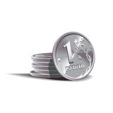 Ruble  coins  illustration, financial theme Stock Photos