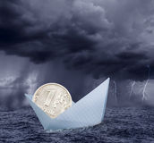 Ruble in crisis. Concept with stormy clouds stock photo