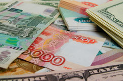 Ruble-dollar сurrency speculation. Stock Photo