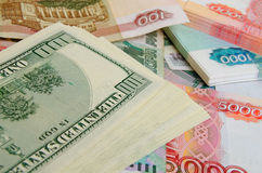 Ruble-dollar сurrency speculation. Royalty Free Stock Photography