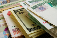 Ruble-dollar сurrency speculation. Royalty Free Stock Photo