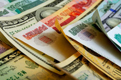 Ruble-dollar сurrency speculation. Currency speculation on the ruble-dollar exchange Stock Photography