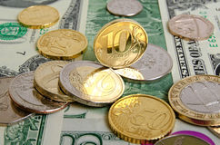 Ruble  exchange rate. Ruble rate on international currency stock exchanges Stock Photos