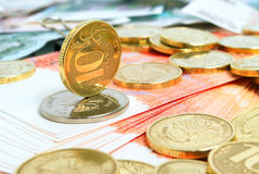 Ruble exchange rate. Ruble exchange rate on international stock exchanges stock photography