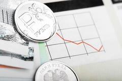 Ruble exchange rate Stock Image