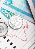 Ruble exchange rate on international stock exchanges. Stock Photo