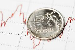 Ruble exchange rate Stock Photography