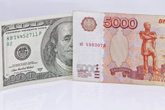 Ruble exchange rate to the dollar. Weakening of the ruble exchange rate to the dollar Stock Photo