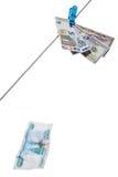 Ruble falls. Dollars, euro and rubles. Rable crash Stock Image