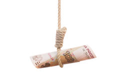 Money hanging from noose Stock Photography