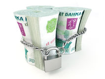 Ruble on lock Royalty Free Stock Images